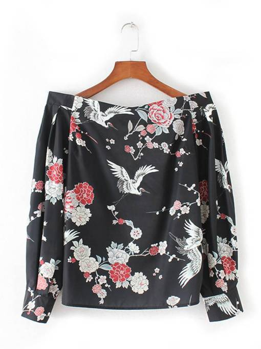 Off Shoulder Animal And Floral Print Women's Blouse
