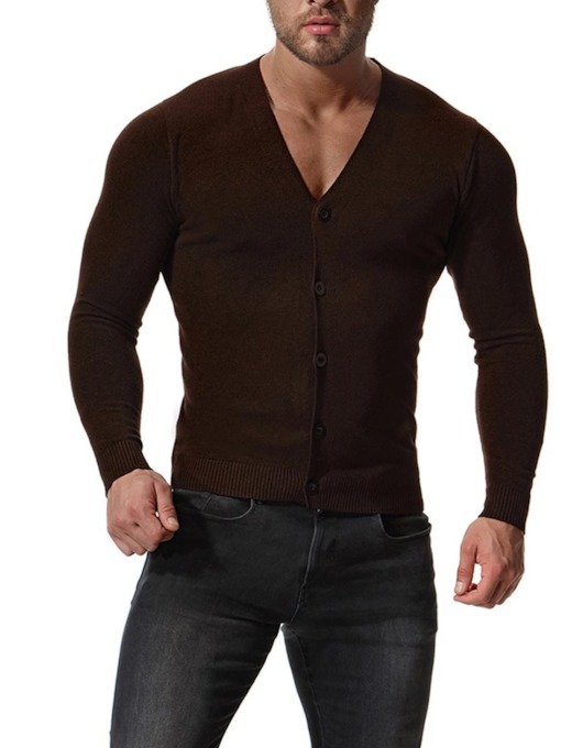 V-Neck Thin Solid Color Cardigan Men's Knit Sweater