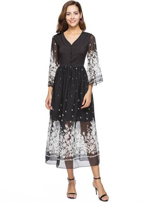 3/4 Length Sleeve Chiffon Button Prints Dress