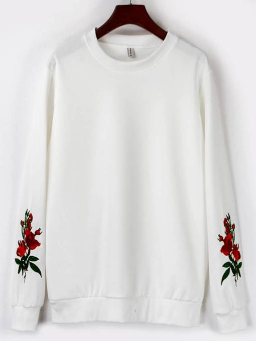 Floral Embroidery Scoop Neck Women's Sweatshirt