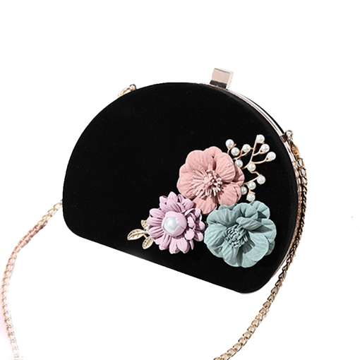 Chinese Velour Appliques Chain Clutch