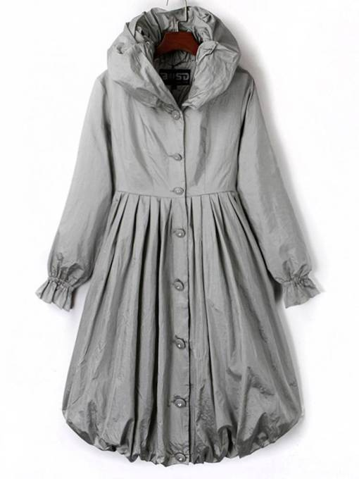 Flare Sleeve Pleated Hooded Button Down Women's Trench Coat