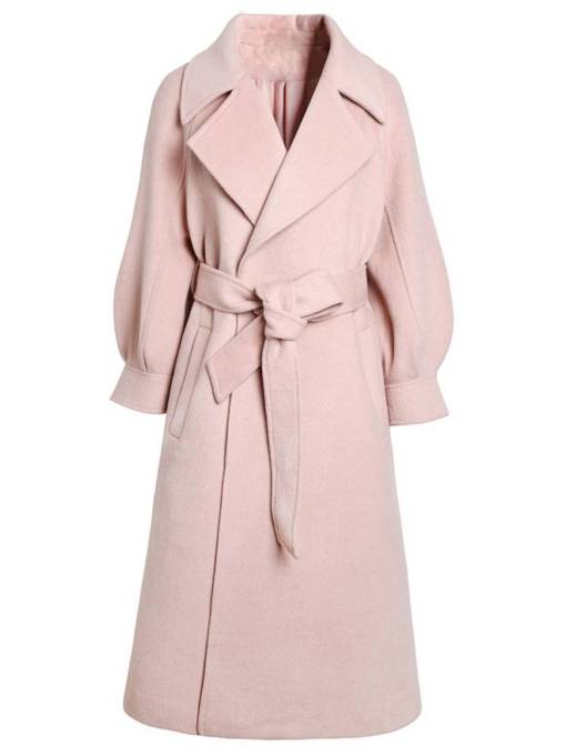 Solid Color Lantern Sleeve Belt Lapel Women's Overcoat