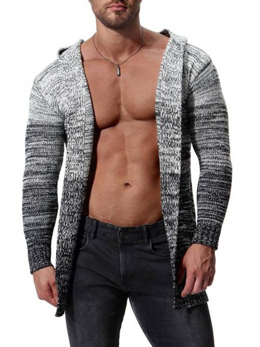 Gradient Cardigan Mid Pattern Slim Men's Knitwear