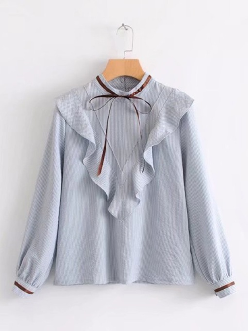 Frilled Bow Tie Neck Women's Blouse