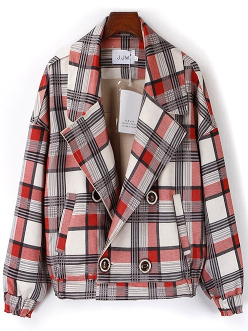 Plaid Pocket Notched Lapel Double-Breasted Women's Jacket