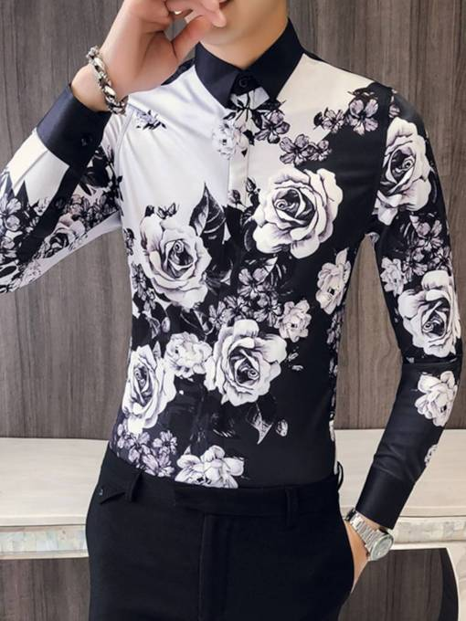 Lapel Black and White Rose Print Men's Shirt
