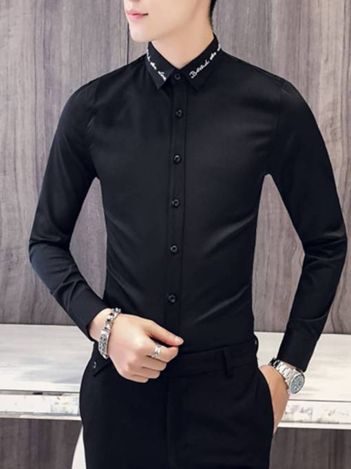 Lapel Letter Embroidery Plain Slim Men's Shirt