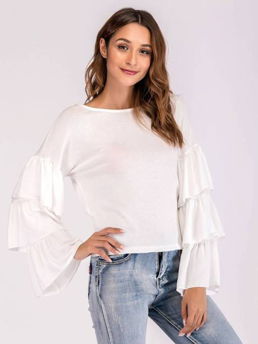 Flare Sleeve Scoop Neck Solid Color Women's Blouse