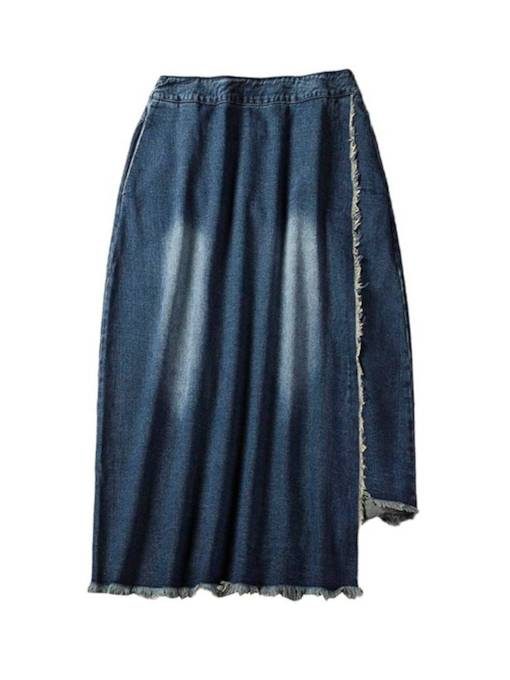 Mid Calf Asymmetric Raw Edge Women's Denim Skirt