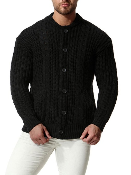 Solid Color Cardigan Men's Knit Sweater