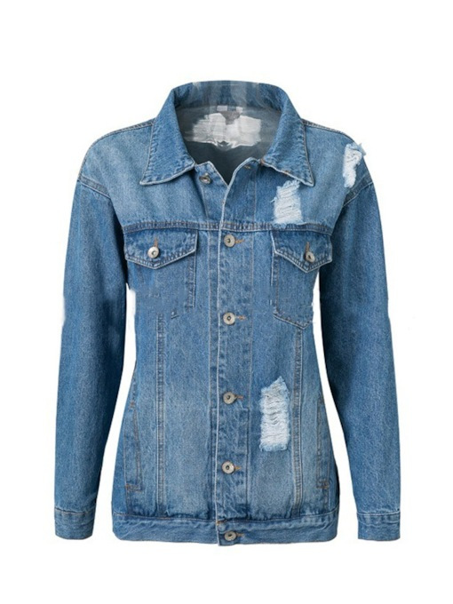 Classic Single Breasted Lapel Women's Jean Jacket