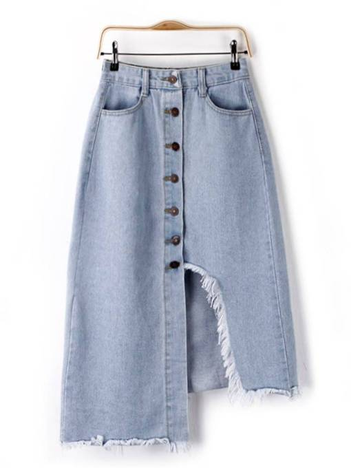 Asymmetric Button Front Raw Edge Women's Denim Skirt