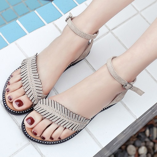 Ankle Strap Rhinestone Toe Ring Block Heel Chic Women's Sandals