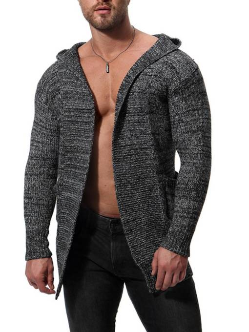 Hooded Mid Pattern Solid Color Men's Knit Sweater