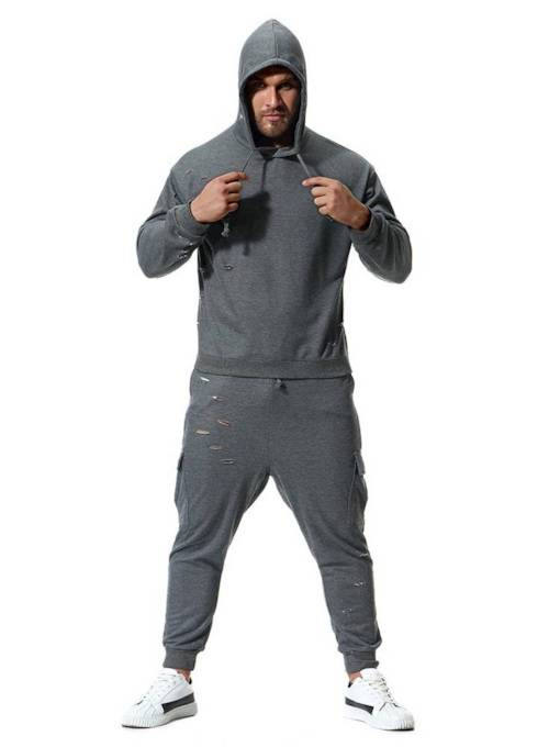 Hooded Solid Color Loose Men's Sports Suit