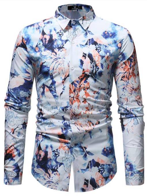 Splash-Ink Lapel Leisure Men's Shirt