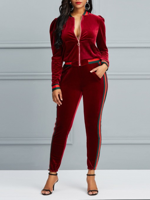 Velvet Zipper Stripe Jacket Pencil Pants Women's Two Piece Sets