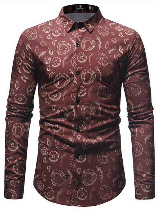 Lapel Pattern Print Leisure Slim Men's Shirt