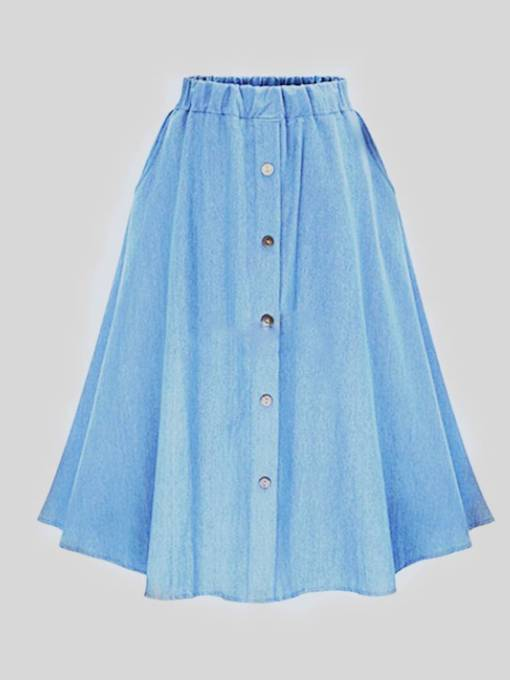 Denim Button Front Elastic Waist Women's Maxi Skirt
