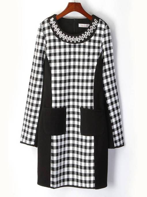 Round Neck Long Sleeve Color Block Dress