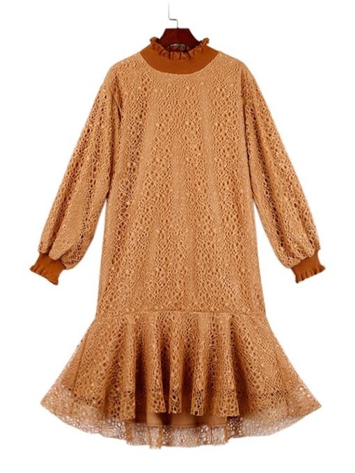 Long Sleeve Stand Collar A-Line Day Dress