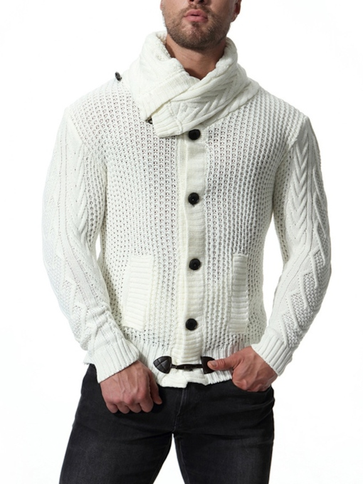 Lapel Turtleneck Solid Color Cardigan Men's Knit Sweater