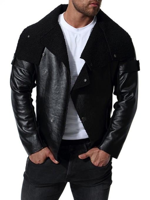 Locomotive Style Punk Irregular Faux Leather Fur Men's Jacket
