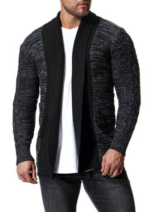 Contrast Trim Cardigan Slim Men's Knit Sweater