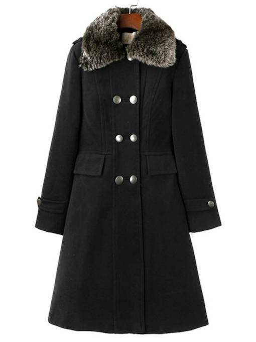 Faux Fur Patchwork Double-Breasted Mid Length Women's Overcoat