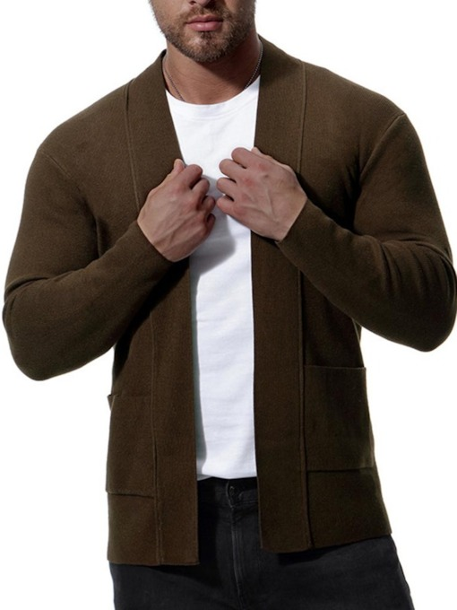 Mid Pattern Solid Color Cardigan Men's Knit Sweater