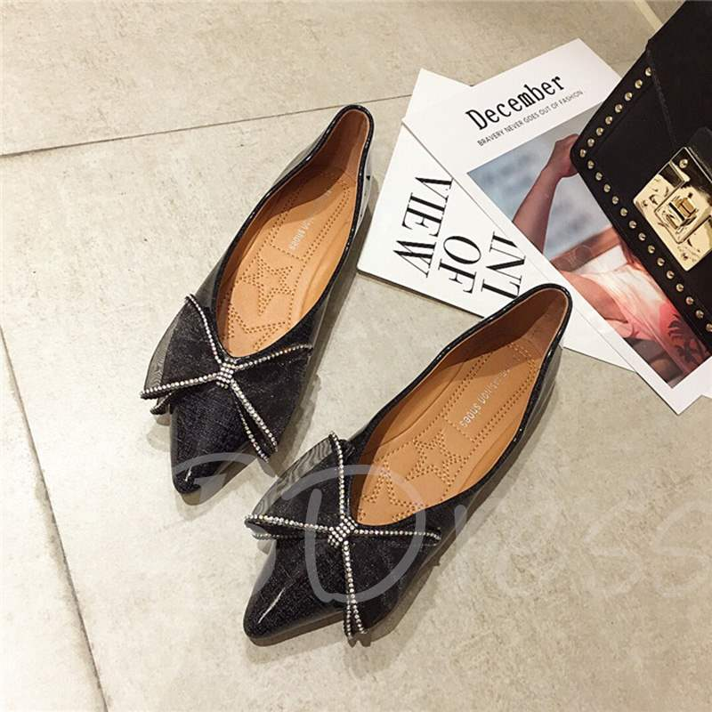 Buy Pointed Toe Block Heel Bow Rhinestone Comfy Women's Flats, Spring,Summer,Fall, 13361431 for $39.26 in TBDress store