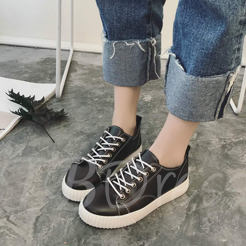 Buy Round Toe Lace-Up Platform Low-Cut Plain Casual Women's Sneaker, Spring,Summer,Fall, 13361253 for $27.05 in TBDress store