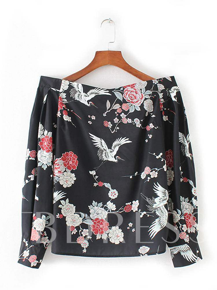 Buy Off Shoulder Animal And Floral Print Women's Blouse, Spring,Fall, 13361459 for $13.97 in TBDress store