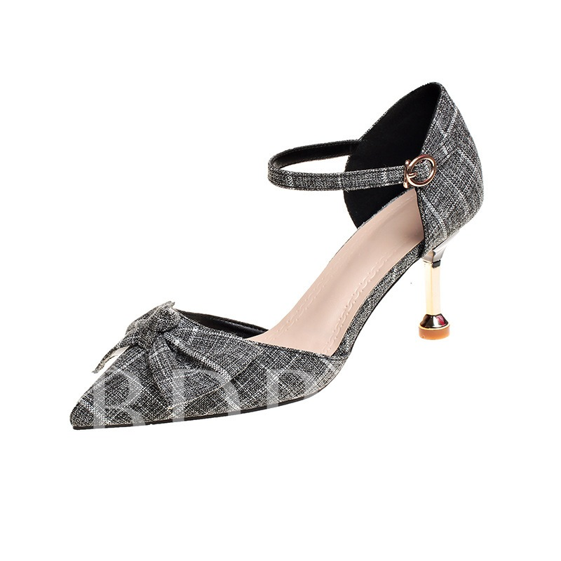 Buy Pointed Toe Stiletto Heel Bowknot Buckle Classical Women's Pumps, Spring,Summer,Fall, 13361396 for $33.51 in TBDress store