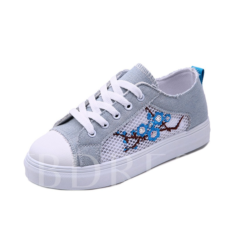 Buy Round Toe Mesh Floral Embroidery Lace-Up Women's Sneaker, Spring,Summer,Fall, 13361255 for $27.98 in TBDress store