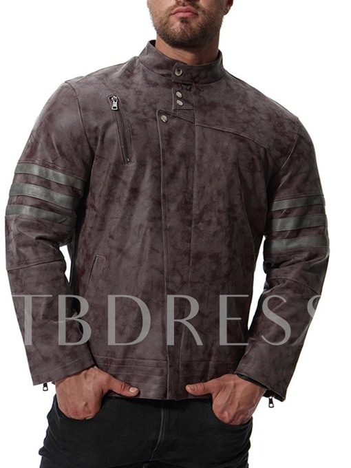 Stand Collar Plain Men's Faux Leather Jacket