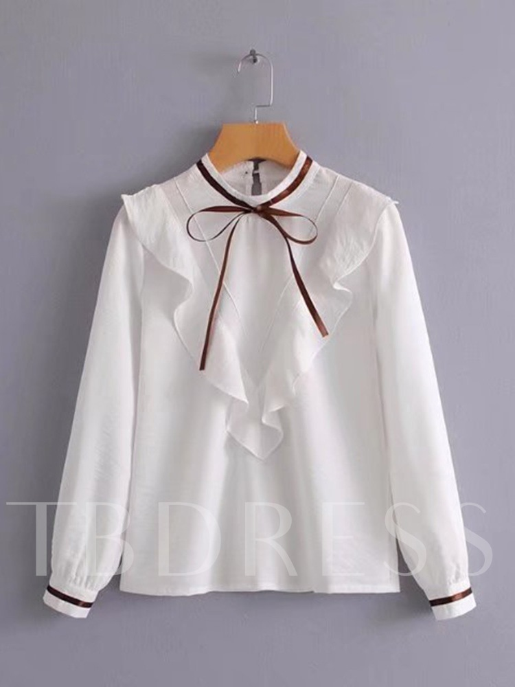 Buy Frilled Bow Tie Neck Women's Blouse, Spring,Fall, 13361446 for $12.87 in TBDress store