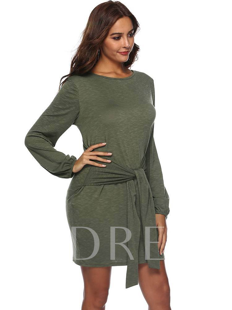Round Neck Lace-Up Casual Day Dress