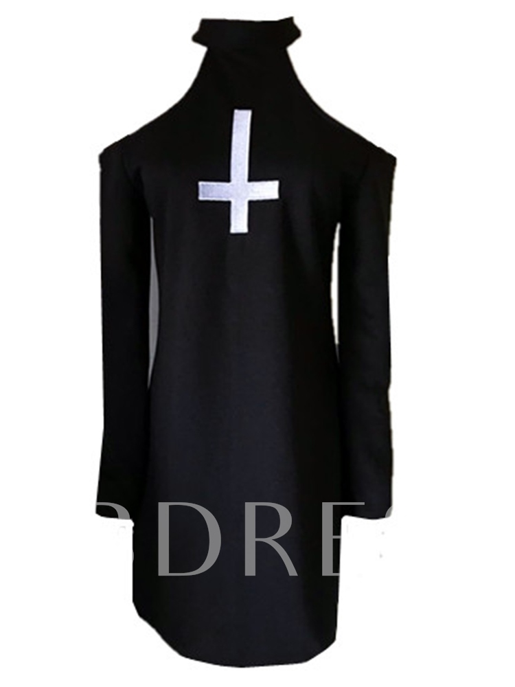 Halloween Costume Long Sleeve Embroidery Above Knee Stand Collar Spring Women's Day Dress
