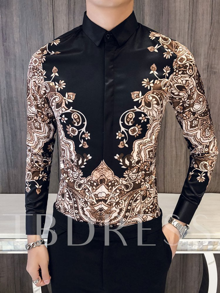 Lapel Golden Print Vintage Luxury Men's Shirt