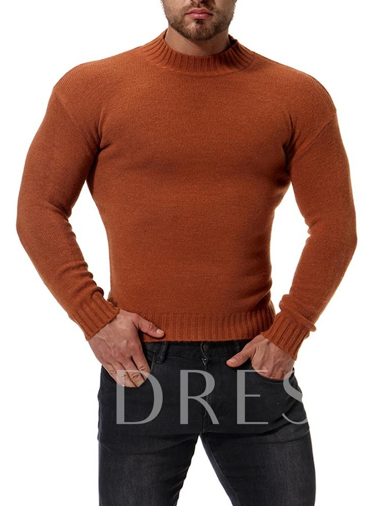 Turtleneck Solid Color Slim Men's Knit Sweater