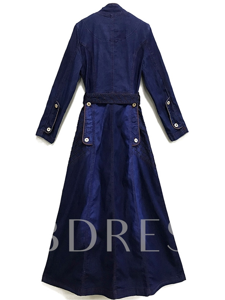 Stand Collar Button Denim Pocket Day Dress
