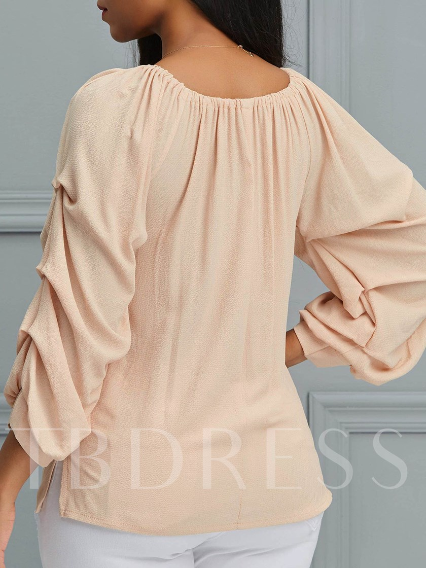 Plain Puff Sleeve Pleated Mid-Length Women's Blouse