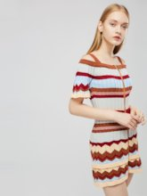 Short Sleeve Round Neck Stripe Day Dress