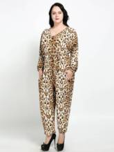 Plus Size Leopard Loose Women's Jumpsuit
