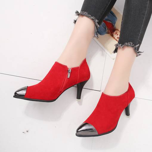 Pointed Toe Side Zipper Sequin Women's Kitten Heel Ankle Boots