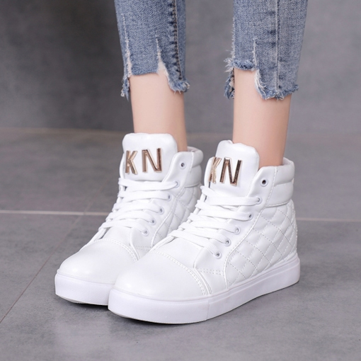 High Top Platform Lace-Up Round Toe Casual Women's Sneaker