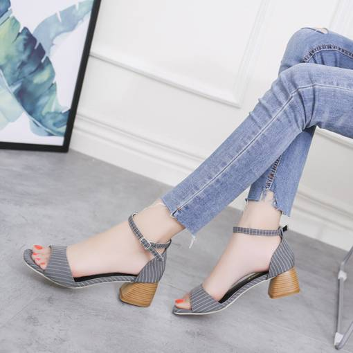 Open Toe Heel Covering Stripe Stylish Women's Sandals