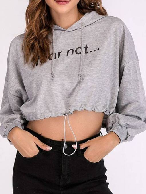 Letter Print Long Sleeve Drawstring Women's Cropped Hoodie